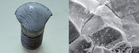 Fractured bolt and scanning electron microscope image of fracture surface