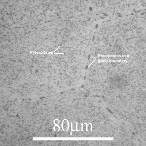 Al2Cu precipitates in a Al-4% Cu alloy. © DoITPoMS Micrograph Library, Univ. of Cambridge
